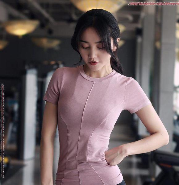 春夏運動短袖女輕薄健身衣速干T恤瑜伽打底上衣緊身透氣跑步半袖【無趣工社】