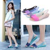涼鞋女新款夏季沙灘鞋女果凍洞洞鞋防滑坡跟軟底塑料海邊涼鞋 時尚潮流