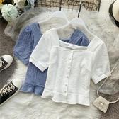 宮廷風復古法式方領雪紡衫女短款收腰泡泡袖設計感小眾洋氣上衣潮 - 風尚3C