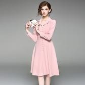 洋裝-長袖翻領純色單排扣收腰女連身裙2色73of83【巴黎精品】