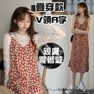 EASON SHOP(GQ0876)韓版復古花朵親膚露鎖骨無袖細肩帶吊帶背心連身裙洋裝女過膝長裙過膝傘狀A字裙