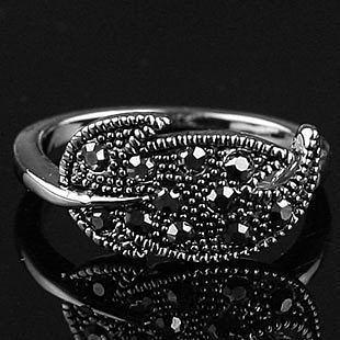 復古銀飾品時尚個性誇張鑲鑽樹葉戒指女潮人食指指環