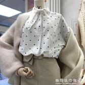 文藝小清新范波點棉麻襯衫女長袖上衣潮  歐韓流行館