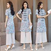 中國民族風復古雪紡印花兩件套旗袍上衣休閒禪服兩件式 DN12382【大尺碼女王】