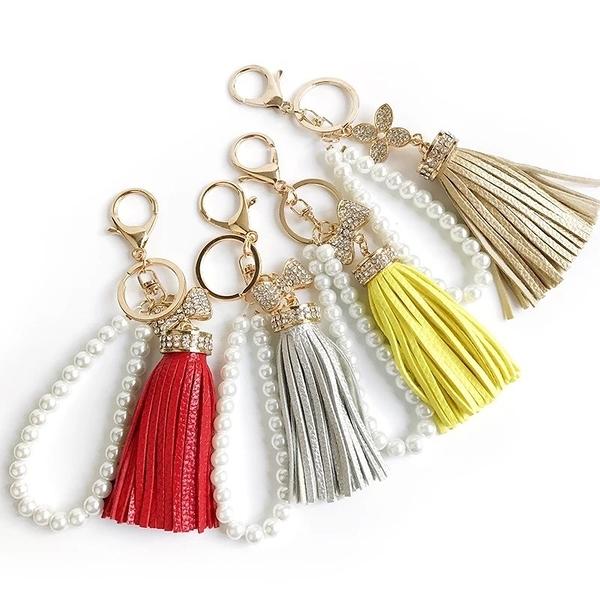 永生花配件材料,鑲鑽蝴蝶結流蘇鑰匙圈,共8款