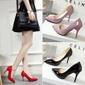 女鞋子新款韓版百搭淺口單鞋細跟尖頭小清新高跟鞋女中跟 享購