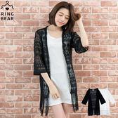 蕾絲--時尚優雅鏤空蕾絲透膚飄逸流蘇開襟罩衫外套(白.黑XL-3L)-J213眼圈熊中大尺碼