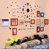 客廳照片時鐘裝飾黑白相框墻創意掛墻組合夾子懸掛無痕釘相片墻LY3157『愛尚生活館』