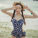 Qmigirl 韓版小清新三角連身修身顯瘦泳衣 【WET126】