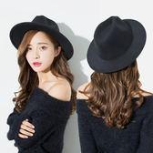 春季新款毛呢帽子女士韓版潮可愛小清新大檐禮帽女英倫青年爵士帽