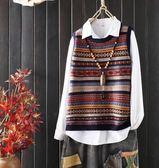 秋款民族風文藝彩條提花毛衣女百搭無袖包芯紗針織衫背心馬甲外套 艾尚旗艦店