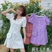 紫色洋裝女年新款夏天方領泡泡短袖牛仔裙潮A字裙子送包包 錢夫人小鋪