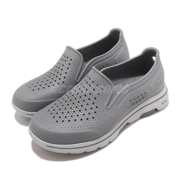 Skechers 休閒鞋 Go Walk 5-Easy Going 灰 男鞋 水鞋 排水設計 套入式 懶人鞋【PUMP306】 243000GRY