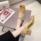 促銷全場九折 涼鞋仙女風年新款夏天粗跟中跟百搭時尚高跟一字扣帶羅馬鞋子