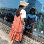 孕婦夏裝新款時尚裙子寬鬆大碼個性短袖中長款孕婦洋裝潮媽艾美時尚衣櫥