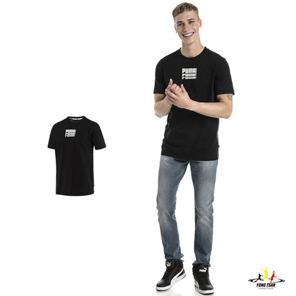 Puma Rebel 男 黑色 短袖 上衣 基本系列 棉質 短T 圓領衫 短袖T恤 85240401