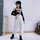 女童白色單肩吊帶褲2020秋裝新款韓版中大童寬松直筒休閒褲百搭潮