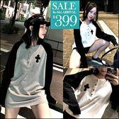 克妹Ke-Mei【ZT47323】歐美辛辣龐克皮革貼章黑白撞色棒球袖T恤上衣