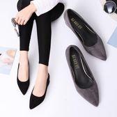百搭工作鞋黑色高跟鞋女職業粗跟絨面單鞋尖頭中跟5CM高跟鞋女鞋 交換禮物