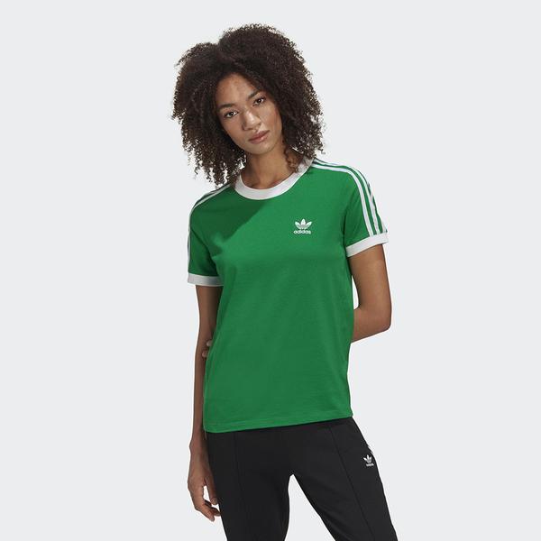 ADIDAS ADICOLOR 女裝 短袖 休閒 三條線 刺繡LOGO 棉質 基本 綠【運動世界】GI7624