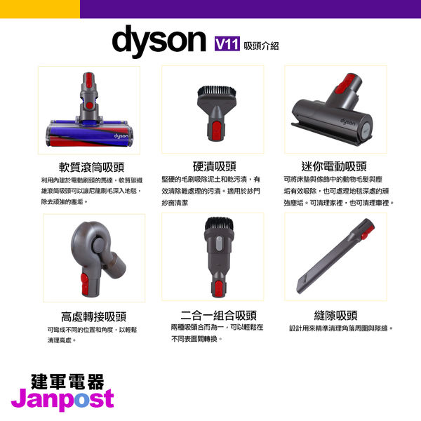 [建軍電器]Dyson 戴森 V11 SV14 Fluffy 無線手持吸塵器/六吸頭版/Absolute animal參考