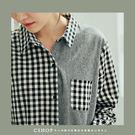 棉麻衫   裏原宿格紋線條拼接長版襯衫   單色-小C館日系