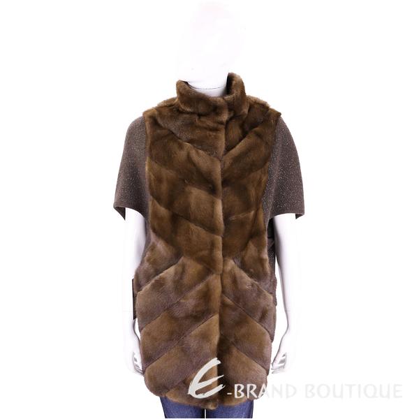 GRANDI furs 咖啡色斜線車縫皮草五分袖外套(70%WOOL) 1710171-07