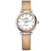 TITONI 梅花錶 炫美時尚之約械錶女錶-玫塊框x珍珠貝x卡其錶帶/33.5mm 23978SRG-STC-622