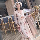 【降價兩天】木耳邊中長款雪紡裙子韓版修身顯瘦碎花連身裙女夏