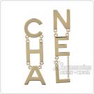 CHANEL 字母LOGO不對稱設計墜飾穿式耳環(金)