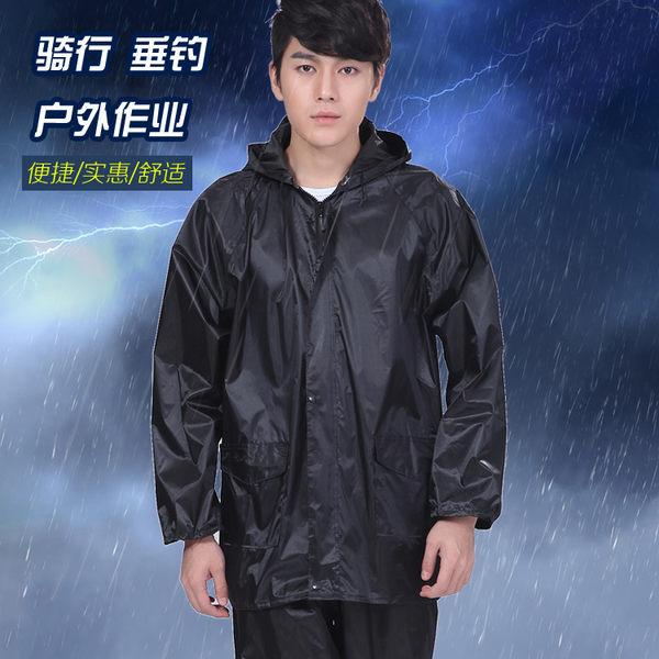 加厚騎行雨衣套裝摩托車成人分體雨衣雨褲工地防刮透氣帶帽雨衣