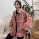 休閒外套春秋新款韓版復古港味bf寬鬆百搭休閒工裝外套夾克女學生