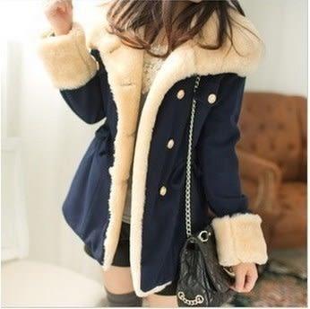 韓版雙排扣學院風毛呢大衣外套