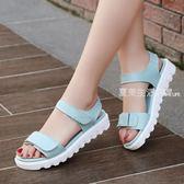 涼鞋女  夏季女生涼鞋新款時尚百搭平跟魔術貼平底韓版學生女鞋子·夏茉生活