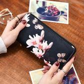 錢包 手包女 ins韓版印花多卡位拉鏈錢包女可放5.5寸手機單拉錢包-凡屋