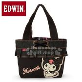 〔小禮堂〕酷洛米 EDWIN 牛仔布花邊手提袋《深藍》便當袋 4548643-12659