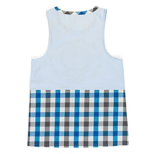 Sanrio 哆啦A夢罩衫式圍裙(藍黑格紋)★funbox★_654591N