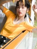 純色v領針織短袖t恤女裝2020新款早春半袖修身上衣糖果色港風內搭