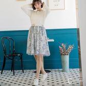 CANTWO日系網紗印花雙層紗裙-灰