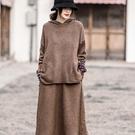 復古民族風貼布連帽上衣 針織半身裙 純色...