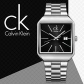 CK手錶專賣店 K3L31161黑 方型 時尚紳士錶 石英 夜光指針 礦物抗磨玻璃 不銹鋼錶帶