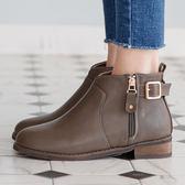靴子 D+AF 好評推薦.V口拉鍊釦環內增高短靴*灰棕