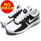 【US8.5-NG出清】Nike 休閒慢跑鞋 Wmns Air Max Zero 黑 白 左鞋頭黃 右鞋後跟污損 運動鞋 女鞋【PUMP306】