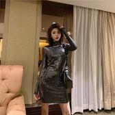 新款韓版秋季時尚女小性感亮片緊身包臀V領長袖修身連身裙潮 居享優品