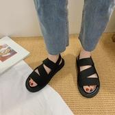 機能風黑色涼鞋女平底夏季新款學生百搭ins潮軟底舒適涼鞋女  【快速出貨】時尚