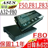 ASUS 電池-華碩 電池- F50,F50GX,F50A,F50S,F50SF,F50SL,F50SV,F50SV-X1,A32-F80H,F51B1000 系列