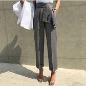 梨卡 - 初秋韓國新款顯瘦OL綁帶縮腰直筒西裝褲長褲B968