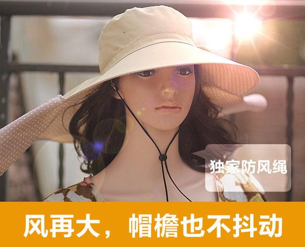 日本帽子女夏天防UV防风遮阳帽太阳帽子骑车防晒大沿帽防紫外线帽