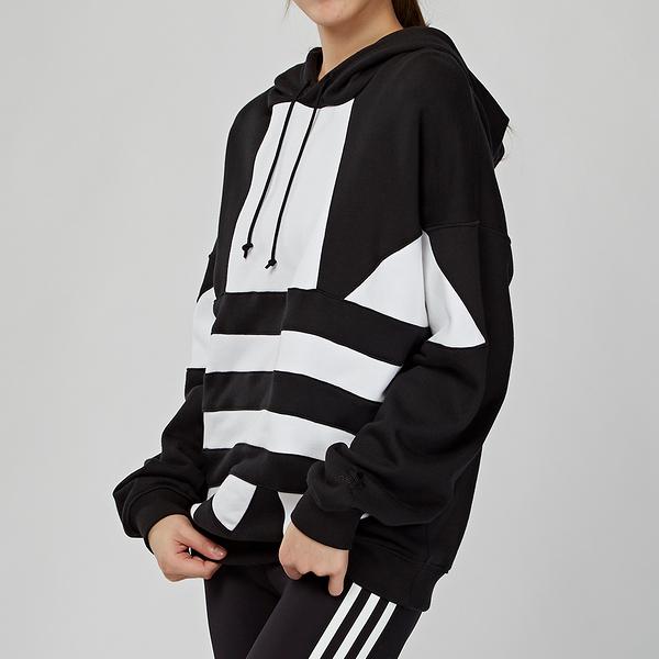 Adidas Originals 女款 黑色 大LOGO 舒適 寬鬆 OVERSIZE 連帽 長袖 上衣 FS1308