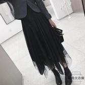 孕婦半身裙女秋冬季不規則可調節中長款網紗裙無托腹【時尚大衣櫥】